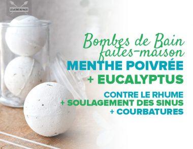 Bombes de bain faites-maison menthe poivrée + eucalyptus contre les rhumes, pour soulager les sinus et les courbatures
