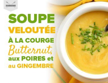 Soupe veloutée à la courge butternut, aux poires et au gingembre